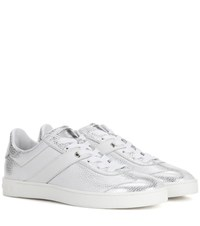 Tod's Cassetta Leather Sneakers Silver