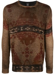 Avant Toi Tapestry Print Sweater Brown