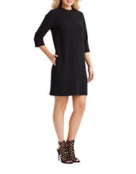 Donna Morgan Three Quarter Sleeve Crepe Shift Dress Black
