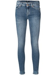 7 For All Mankind Distressed Leg Skinny Jeans Blue