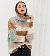 River Island Roll Neck Jumper In Stripe Multi