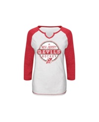 Vf Licensed Sports Group Women's Raglan Sleeve New Jersey Devils Change On The Fly T Shirt White