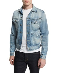 Tom Ford Western Style Light Wash Painted Denim Jacket Light Denim
