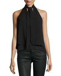 Bishop Young Tie Neck Halter Top Black