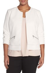 Plus Size Women's Sejour Collarless Boxy Twill Jacket