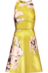 Lela Rose Floral Print Satin Twill Dress Chartreuse