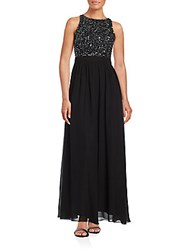 Adrianna Papell Beaded Racerback A Line Gown Black