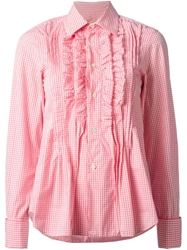 Comme Des Garcons Vintage Gingham Ruffle Shirt Pink And Purple