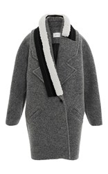 Carven Striped Wrap Coat Light Grey