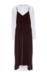 Lake Studio Long Sleeve Velvet Midi Dress Brown
