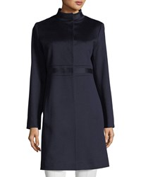 Fleurette Stand Collar Banded Waist Wool Coat Midnight