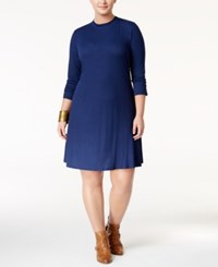 Love Squared Trendy Plus Size Mock Neck Sweater Dress Navy