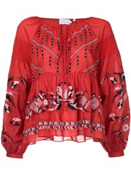 Tanya Taylor Embroidered Peasant Blouse Women Cotton 8