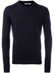 Nuur Distressed Crew Neck Jumper Blue