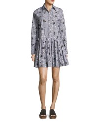 Opening Ceremony Long Sleeve Floral Striped Poplin Shirtdress Black Multicolor Black Pattern