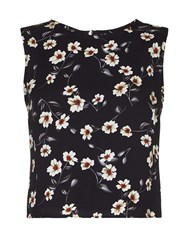 Yumi Sleeveless Floral Top Black