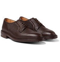 Tricker's Fenwick Pebble Grain Leather Derby Shoes Dark Brown