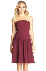 Women's Kaya And Sloane 'Jaelynn' Seamed Strapless Fit And Flare Dress Merlot