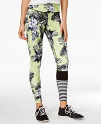 Jessica Simpson The Warm Up Juniors' Floral Print Colorblocked Leggings Aloha Beaches