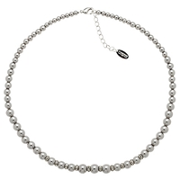 Finesse Glass Pearl And Crystal Rondel Necklace Grey