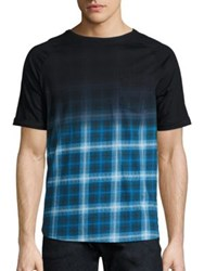 Saks Fifth Avenue X Anthony Davis Ombre Plaid Elongated Tee Black Teal