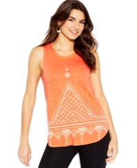 Lucky Brand Wide Strap Scoop Neck Printed Tank