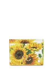 Dolce And Gabbana Girasoli Printed Leather Card Holder