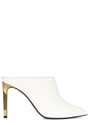 Lanvin White Pointed Leather Mules