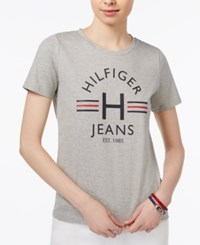 Tommy Hilfiger Logo T Shirt Only At Macy's Grey Heather