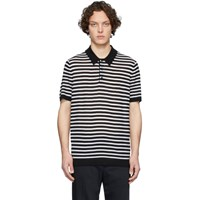 Joseph Black And White Merino Stripe Polo
