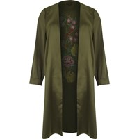 River Island Womens Plus Khaki Green Embroidered Duster