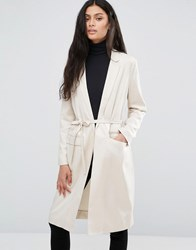 Selected Lightweight Wrap Front Coat Sandshell Cream