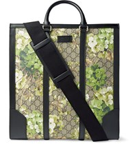 Gucci Leather Trimmed Printed Coated Canvas Tote Neutrals