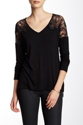 Fate Lace Contrast V Neck Dolman Tee Black