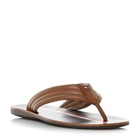 Tommy Hilfiger Torence 3A Leather Toepost Sandals Tan