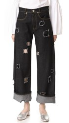 Rejina Pyo Mia Jeans Black Denim With Cutout Holes