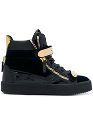 Giuseppe Zanotti Design Cody Touch Strap Sneakers Leather Patent Leather Suede Rubber 38.5 Black
