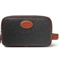 Mulberry Leather Trimmed Scotchgrain Wash Bag Black