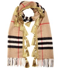 Burberry Giant Plaid Cashmere Scarf Beige