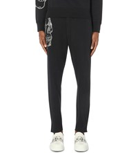 Alexander Mcqueen Skull Embroidered Cotton Jogging Bottoms Black White