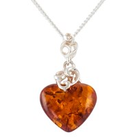 Be Jewelled Amber Heart Pendant Necklace Cognac