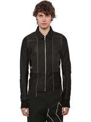 Rick Owens Cotton And Leather Bomber Jacket Black