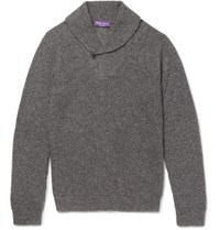 Ralph Lauren Purple Label Shawl Collar Waffle Knit Cashmere And Silk Blend Sweater Charcoal
