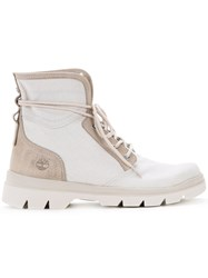 Timberland Panel Lace Up Boots Men Leather 9 White