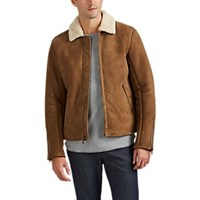 Barneys New York Shearling Jacket Beige Tan