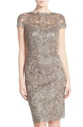 Women's Tadashi Shoji Illusion Yoke Lace Sheath Dress Smoked Pearl