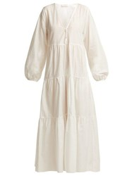 Matteau The Long Sleeve Tiered Cotton Midi Dress White