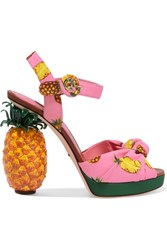 Dolce And Gabbana Knotted Printed Crepe Platform Sandals Pink