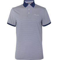 Rlx Ralph Lauren Striped Tech Jersey Golf Polo Shirt Blue