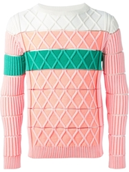 Kenzo Cross Knit Sweater Pink And Purple